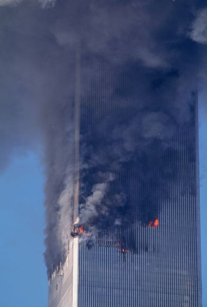 Flames Rage in South Tower