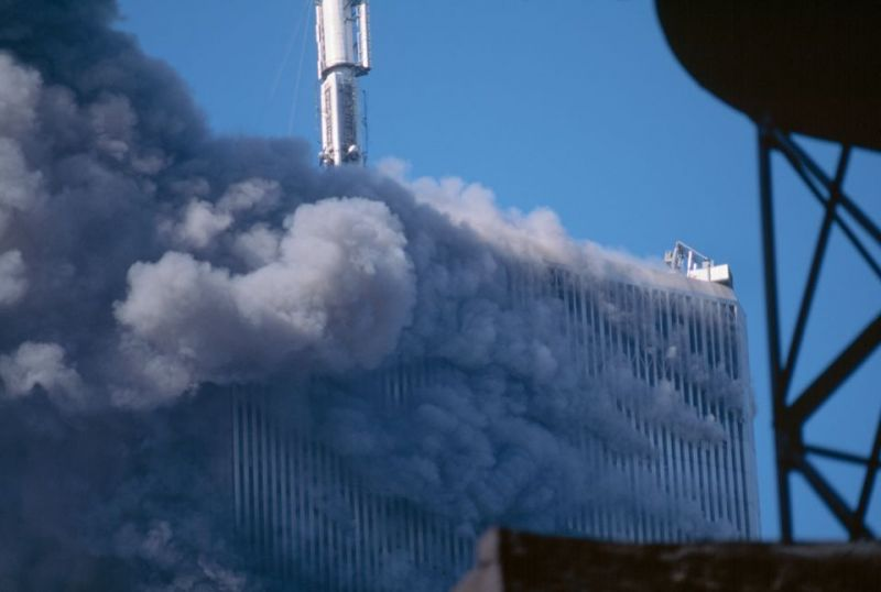 North Tower Wreathed in Smoke