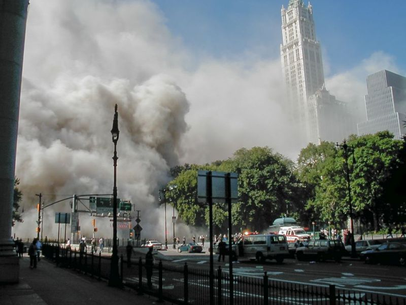 Cloud Floods City Hall Park After Collapse of North Tower