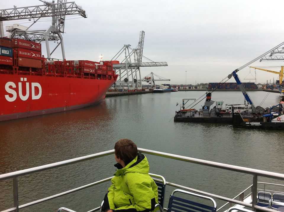 My son THOMAS W., on his thirteenth birthday in Rotterdam harbor. The Netherlands, (June 9, 2011)