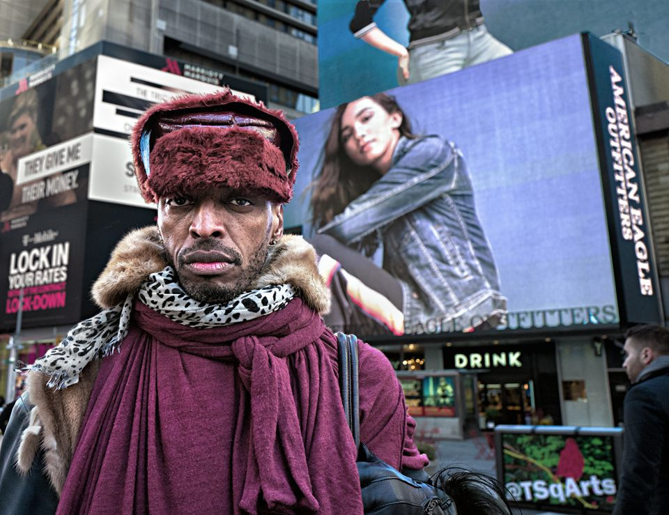Fur Collared Man, Times Sq