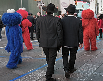 Hassidic Men And Sesame Characters